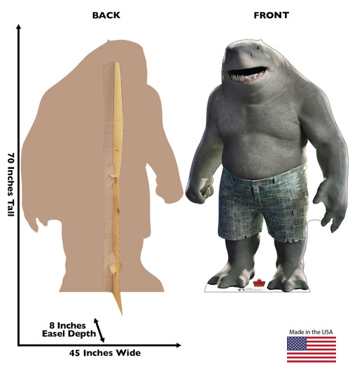 Life-size cardboard standee of King Shark from Suicide Squad 2 with front and back dimensions.