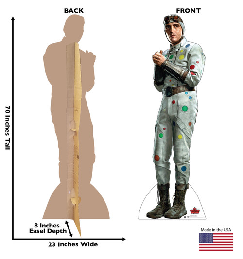 Life-size cardboard standee of Polka Dot Man from Suicide Squad 2 with front and back dimensions.