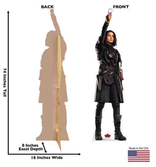 Life-size cardboard standee of Ratcatcher 2 from Suicide Squad 2 with front and back dimensions.