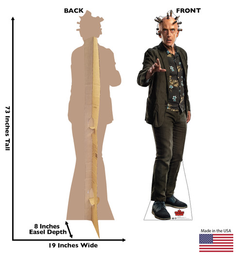 Life-size cardboard standee of Thinker from Suicide Squad 2 with front and back dimensions.