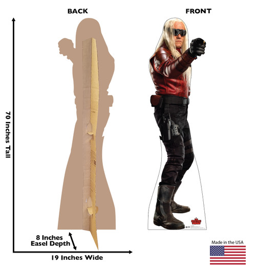 Life-size cardboard standee of Savant from Suicide Squad 2 with front and back dimensions.