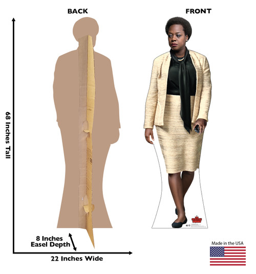 Life-size cardboard standee of Amanda Waller from Suicide Squad 2 with front and back dimensions.