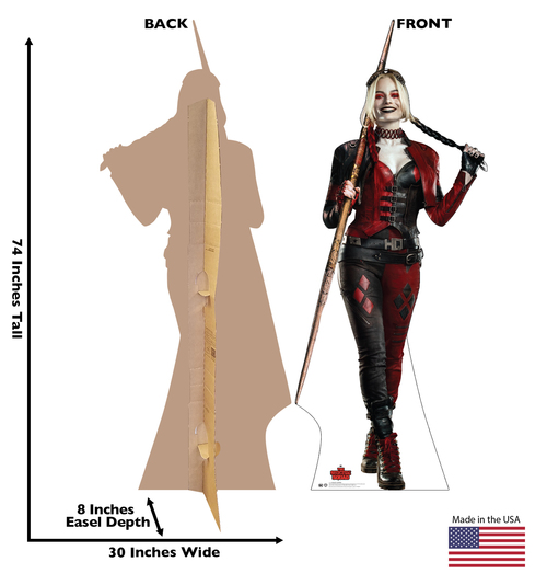 Life-size cardboard standee of Harley Quinn from Suicide Squad 2 with front and back dimensions.