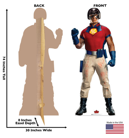 Life-size cardboard standee of Peacemaker from Suicide Squad 2 with front and back dimensions.