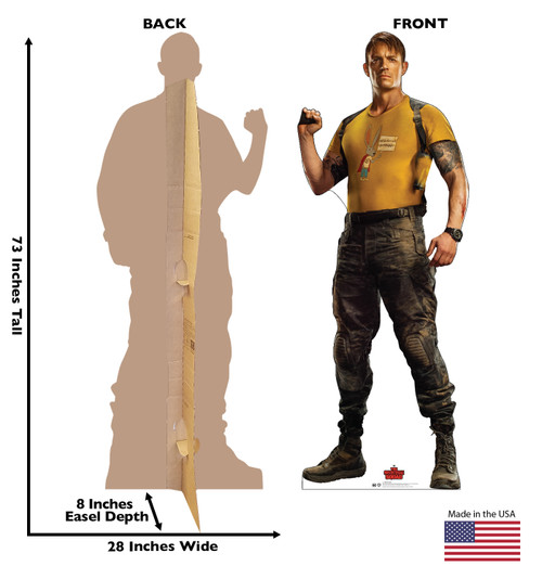 Life-size cardboard standee of Rick Flag from Suicide Squad 2 with front and back dimensions.