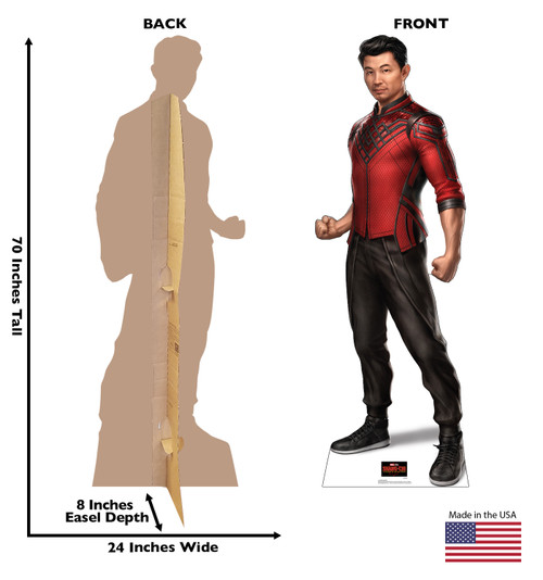 Life-size cardboard standee of Shang-Chi from Shang-Chi and the Legends of the Ten Rings from Marvel Studios with front and back dimensions.