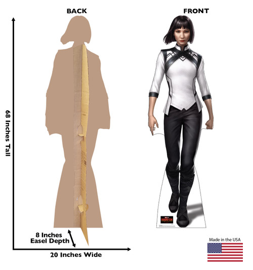 Life-size cardboard standee of Xialing from Shang-Chi and the Legends of the Ten Rings from Marvel Studios with front and back dimensions.