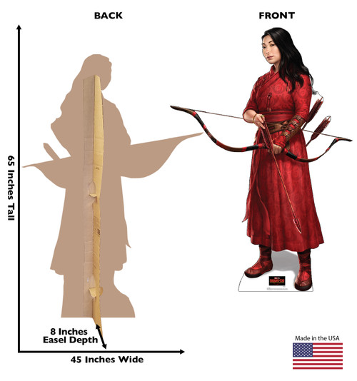Life-size cardboard standee of Katy from Shang-Chi and the Legends of the Ten Rings from Marvel Studios with front and back dimensions.