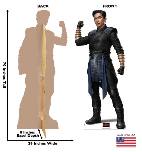 Life-size cardboard standee of Wenwu from Shang-Chi and the Legends of the Ten Rings from Marvel Studios with front and back dimensions.
