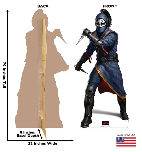 Life-size cardboard standee of Death Dealer from Shang-Chi and the Legends of the Ten Rings from Marvel Studios with front and back dimensions.