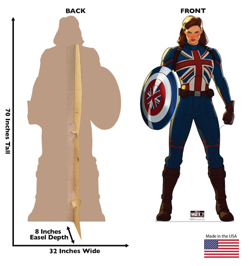 Life-size cardboard standee of Captain Carter from Marvel Studios What if? on Disney + with front and back dimensions.