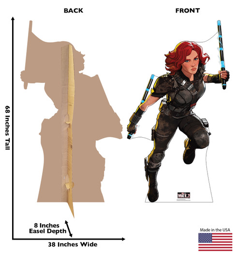 Life-size cardboard standee of Post-Apocalyptic Black Widow from Marvel Studios What if? on Disney + with front and back dimensions.