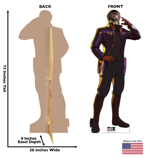 Life-size cardboard standee of T'Challa Star-Lord from Marvel Studios What if? on Disney + with front and back dimensions.