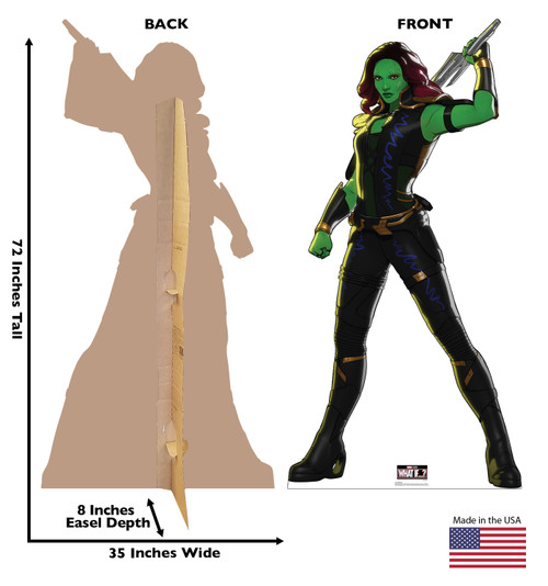Life-size cardboard standee of Gamora from Marvel Studios What if? on Disney + with front and back dimensions.