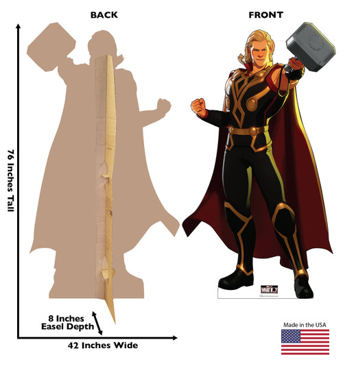 Life-size cardboard standee of Thor from Marvel Studios What if? on Disney + with front and back dimensions.