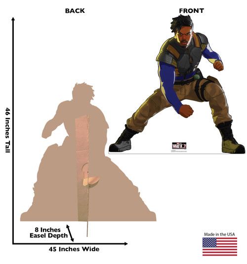 Life-size cardboard standee of Killmonger from Marvel Studios What if? on Disney + with front and back dimensions.