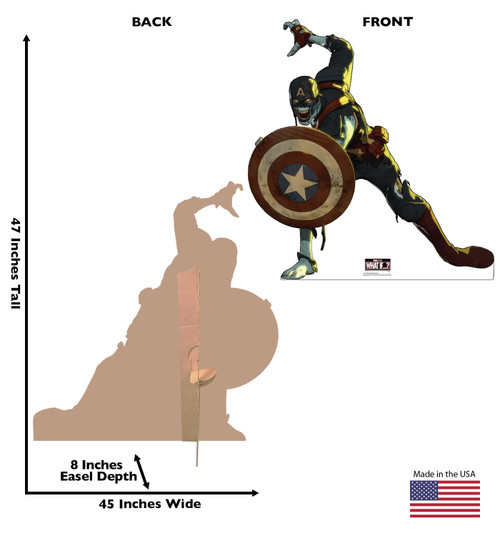 Life-size cardboard standee of Zombie Captain America from Marvel Studios What if? on Disney + with front and back dimensions.