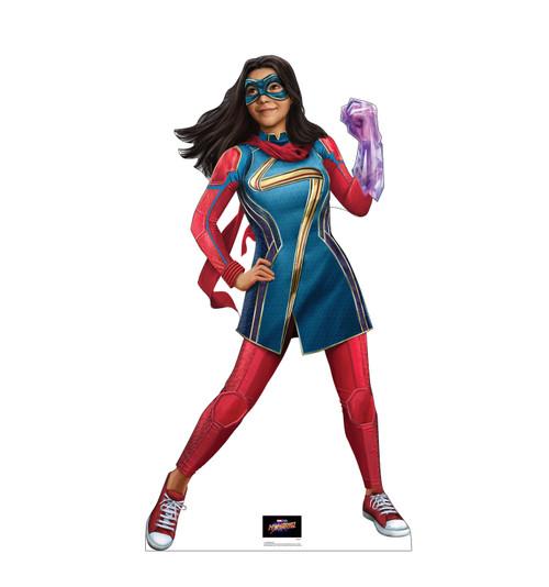 Life-size cardboard standee of Ms. Marvel from Marvel Studios Ms. Marvel on Disney +.