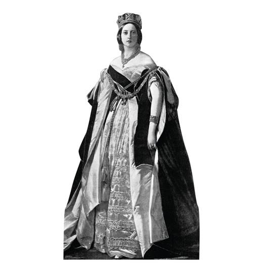 Life-size cardboard standee of Queen Victoria.