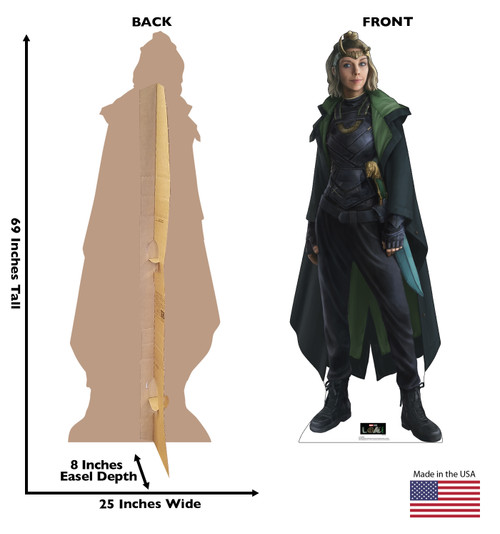 Life-size cardboard standee of Sylvie from Marvel/Disney+ series Loki with back and front dimensions.