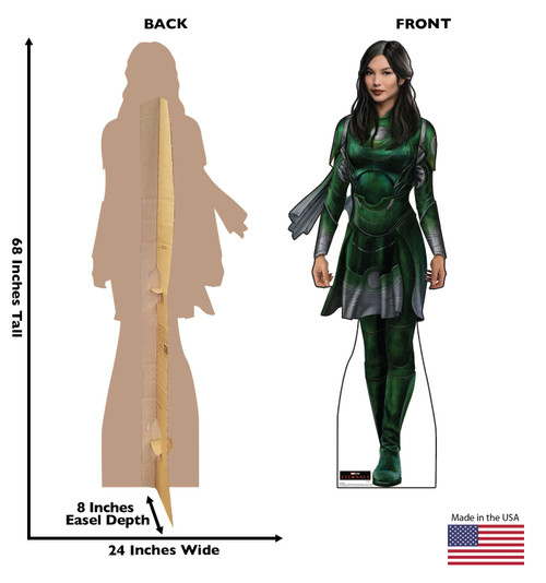 Life-size cardboard standee of Sersi from the Marvel movie The Eternals with back and front dimensions.