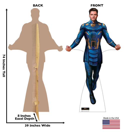 Life-size cardboard standee of Ikaris from the Marvel movie The Eternals with back and front dimensions.