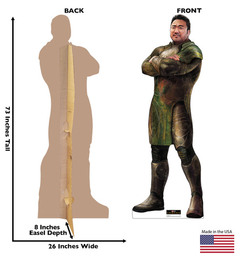 Life-size cardboard standee of Gilgamesh from the Marvel movie The Eternals with back and front dimensions.