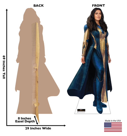 Life-size cardboard standee of Ajak from the Marvel movie The Eternals with back and front dimensions.