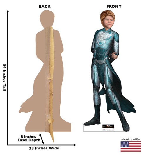 Life-size cardboard standee of Sprite from the Marvel movie The Eternals with back and front dimension.