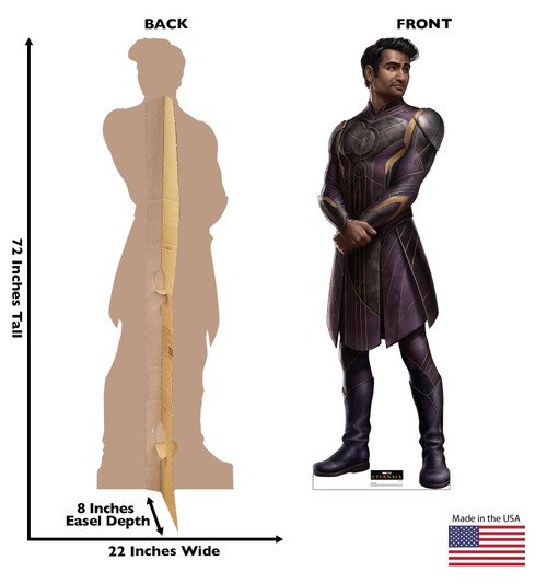 Life-size cardboard standee of Kingo from the Marvel movie The Eternals with back and front dimensions.