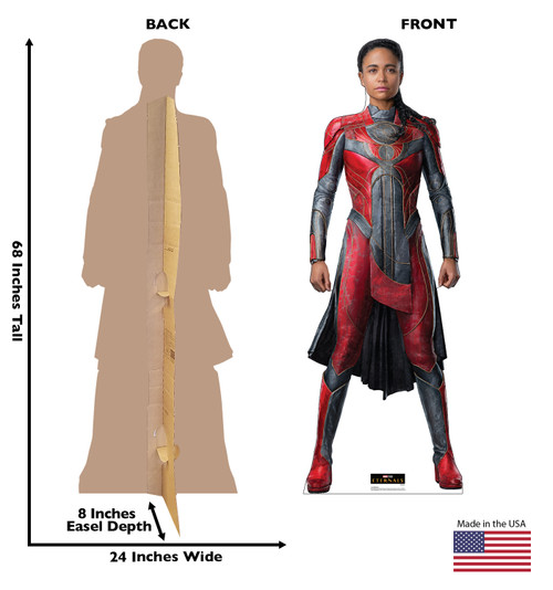 Life-size cardboard standee of Makkari from the Marvel movie The Eternals with back and front dimensions.