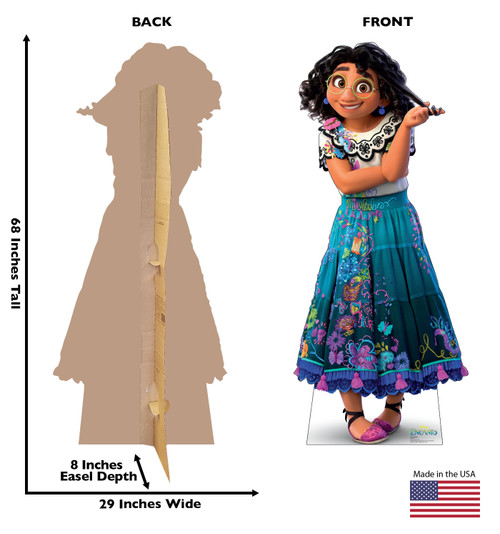 Life-size cardboard standee of Mirabel from the Disney's movie Encanto with back and front dimensions.