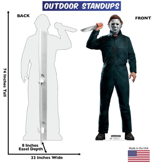 Life-size coroplast outdoor standee of Michael Myers with knife from Halloween II movie with front and back dimensions.