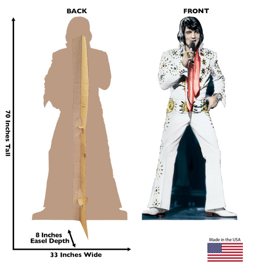 Elvis - White  Jumpsuit TALKING Cardboard Cutout 391T