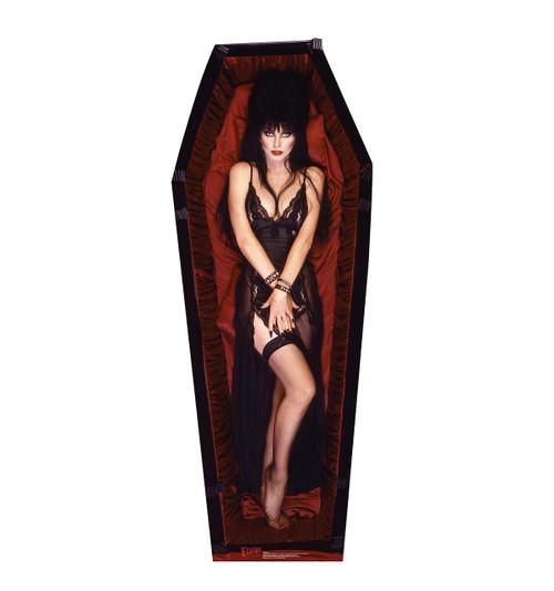 Life-size Elvira in Coffin - Talking Cardboard Standup | Cardboard Cutout