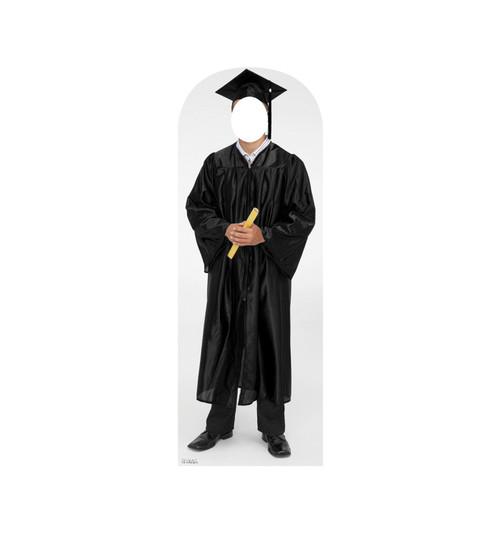 Life-size cardboard standin of graduate.