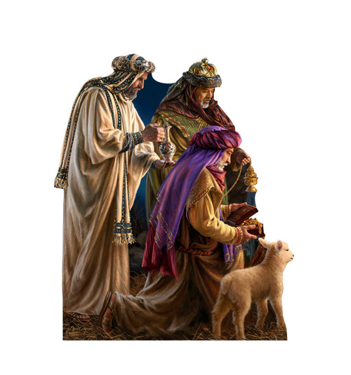 Life-size Three Wise Men - Illustrated by Dona Gelsinger Cardboard Standup   Cardboard Cutout
