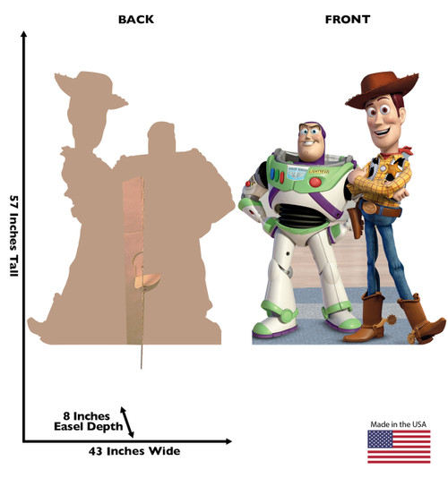 Life-size Buzz and Woody Cardboard Standup | Cardboard Cutout front and back view