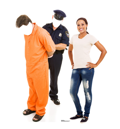 Life-size Inmate and Police Officer Stand-in Cardboard Standup | Cardboard Cutout 2