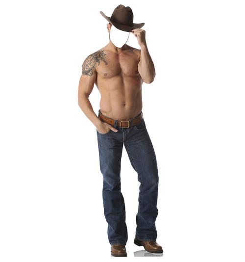 Life-size Shirtless Cowboy Stand-in Cardboard Standup   Cardboard Cutout
