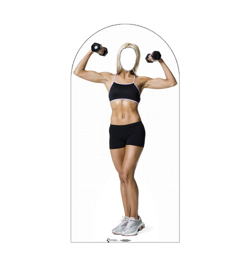 Life-size cardboard stand-in of a muscle women.