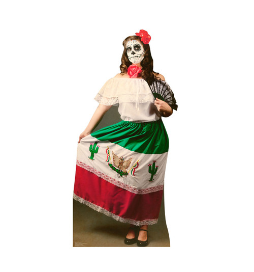 Life-size Day of The Dead Woman Cardboard Standup |Cardboard Cutout