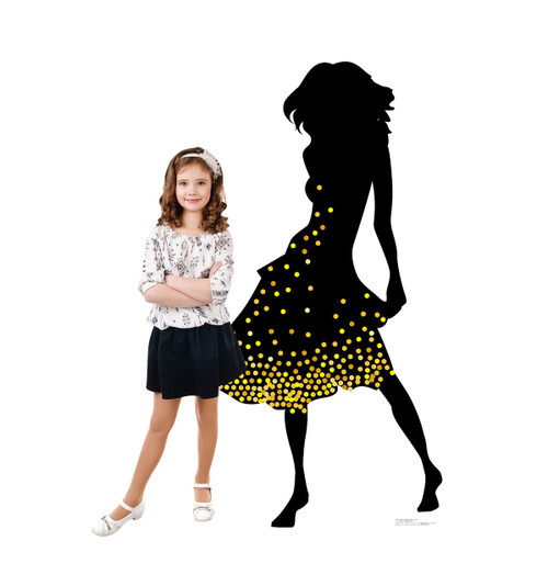 Life-size Silhouette Dancer Yellow Sparkles Cardboard Standup 2