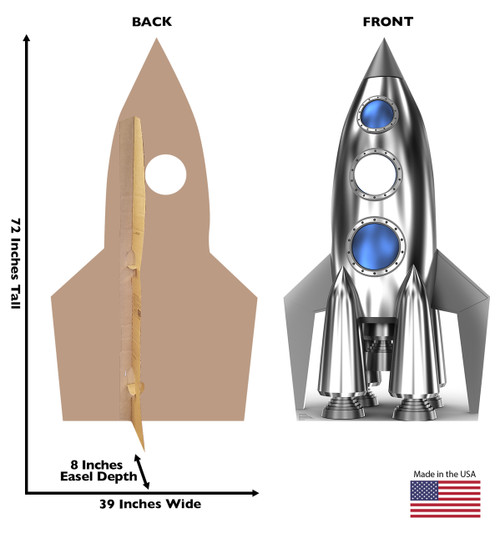 Life-size Space Rocket Stand-In Cardboard Standup dimensions