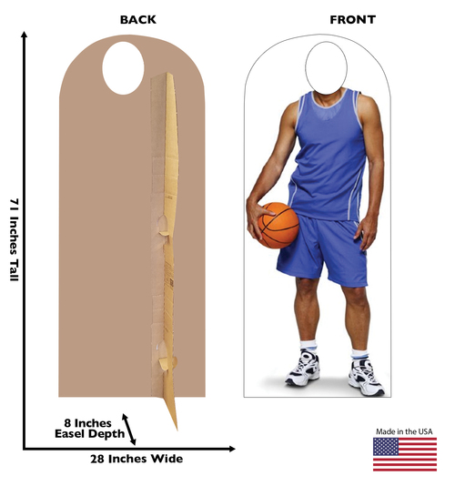 Life-size Basketball Standin Cardboard Standup with front and back dimensions.