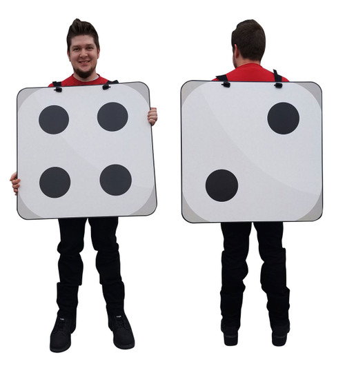 Life-size 2D Dice Costume Cardboard Cutout Front and Back View