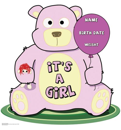 It's A Girl Teddy Bear - Cardboard Cutout