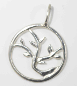 The sterling silver tree of life pendant is hand crafted in Portland, Maine.  This pendant was inspired by a cherry tree that is in front of my store.  The pendant measures 27 mm. x 32 mm. and weighs 2.2 grams.