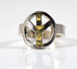 Sterling silver peace ring is hand crafted in Portland, Maine,  The peace ring has a 4.7 mm. wide shank.  The peace section measures 17 mm. x 15 mm. and the ring is size 8.5.  The ring weighs 7.2 grams.