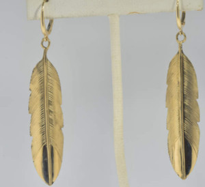 Gold Feather Drop Earrings, feather earrings, feather drops, feather dangles, 14 k gold feather earrings, 14 k gold feather dangles, dangle earrings, gold dangles, gold feathers, feather jewelry, gold feather jewelry, 14 k gold feather jewelry